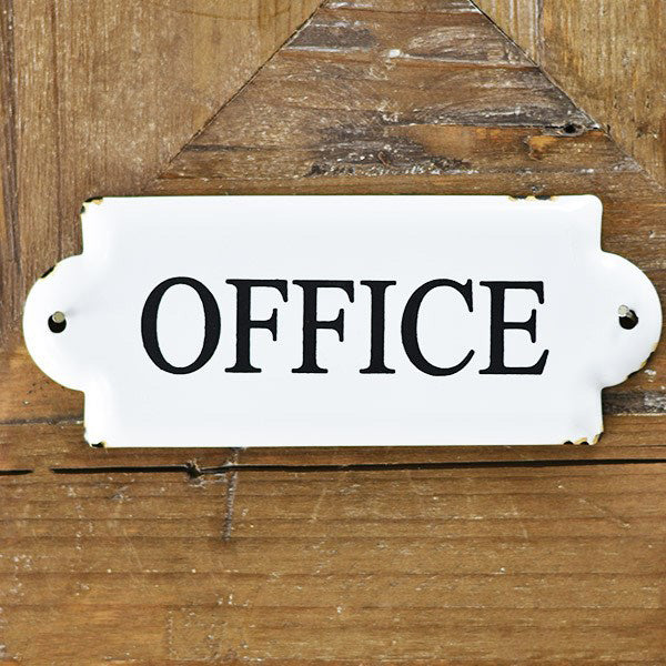 Give your home office a vintage touch with our White Enamel Office Sign. Its decorative curves and bold black lettering against the crisp white enamel give this sign timeless style. 7.25 X .10 X 2.9