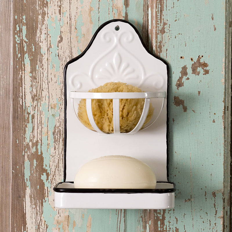 Give your bathroom or kitchen vintage farmhouse style with this Enamel Soap Dish and Sponge Holder. The soap dish features an enamel style finish with black trim.