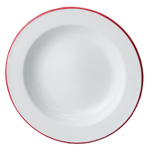 "These White Enamel Salad Plates bring cheerful, vibrant style no matter the season. This set of two white enamel plates includes red rims to emulate those found in antique shops. Their size makes them perfect for layering on top of dinner plates for a pop of color.  Item is food, oven and dishwasher safe. Set of two.  Measures 8"" in diameter. Do not microwave."