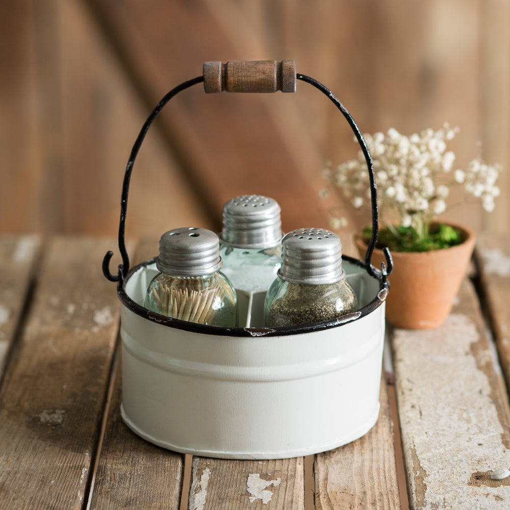 Enamel Style Salt and Pepper Caddy