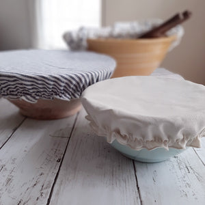Our Fabric Bowl Covers offer a touch of nostalgia along with a heap of function, which is just what every modern farmhouse needs. This set of bowl covers, in three sizes, is perfect for making bread, covering a salad to be served later, cookies to bring to a neighbor. Great for outdoor parties to keep pesky flies at bay. Also great as a kombucha cover.  The large also fits over a casserole dish.
