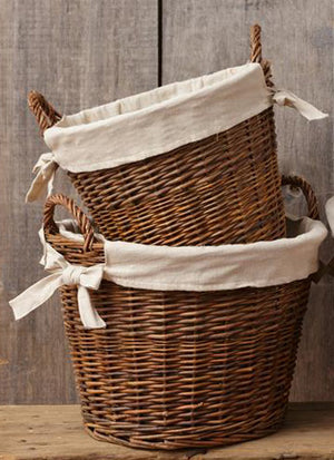 French Country Willow Basket with Fabric Liner
