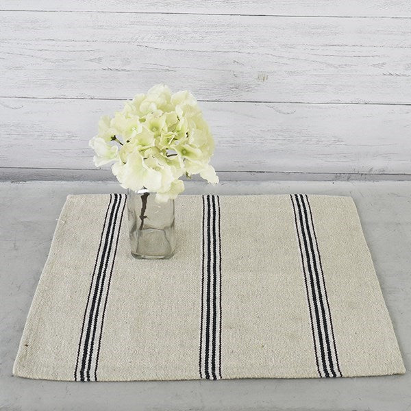 Feed Sack Style Black Stripe Placemats, Set of Two