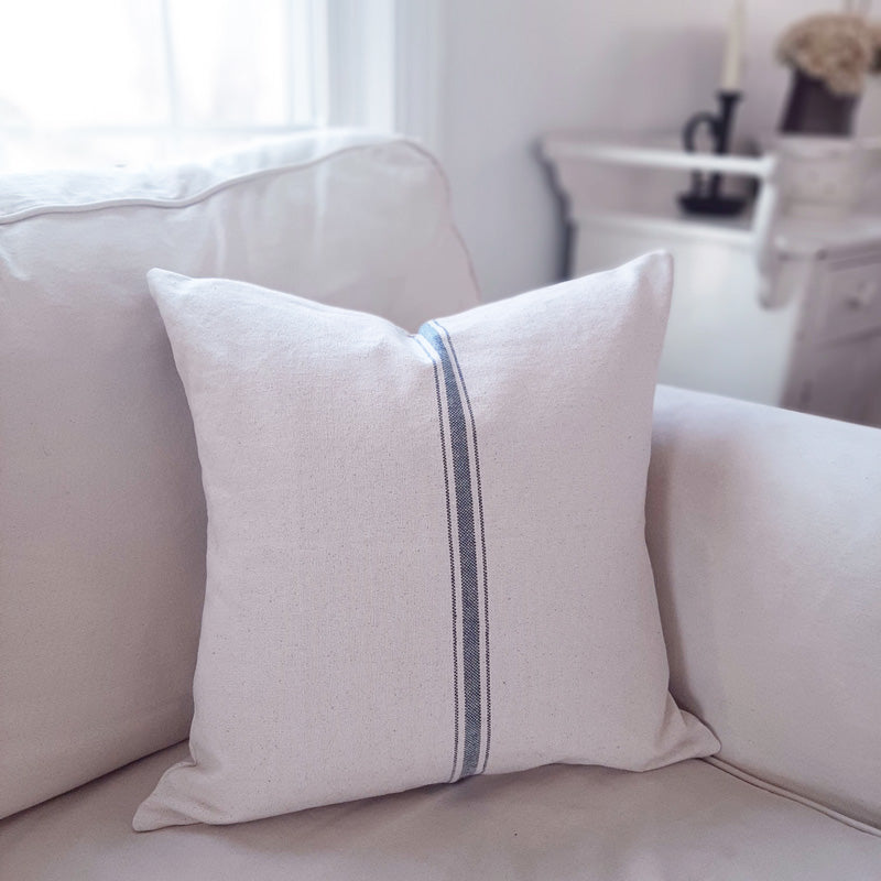 French Blue Stripe Grain Sack Pillow Cover