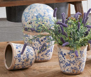 French Country Blue and White Aged Pot Set