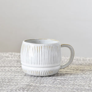 "Treat yourself to a coffee mug upgrade with our Frosted Clay Mug. This stoneware mug features a whitewash look with hints of clay tones peaking through the ribbed design. It brings an earthy elegance to your farmhouse kitchen. 5.12""L (with handle) X 3.74""W X 3.15""H"