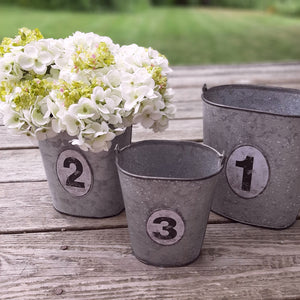 There are many great uses for our Galvanized Numbered Pails. Organize utensils and napkins for rustic style entertaining or pack with your favorite flowers. Each galvanized pail includes a vintage style number tag, and a turned wood handle. Set of three.