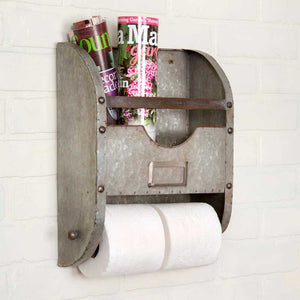 Our Galvanized Towel Holder and Caddy makes farmhouse style bathroom storage easy. The towel bar unscrews from one side to replace rolls of toilet paper.