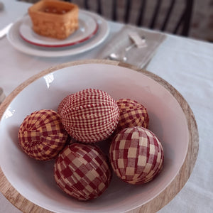 "Our Country Gingham Display Balls feature soft foam balls wrapped with three types of burgundy gingham fabric strips. Comes in a set of six with each measuring 2¼"" in diameter."