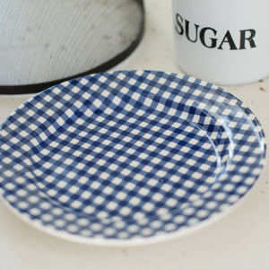 Blue and White Gingham Dessert Plate