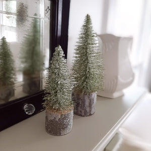 Green Glitter Tree, Set of Two