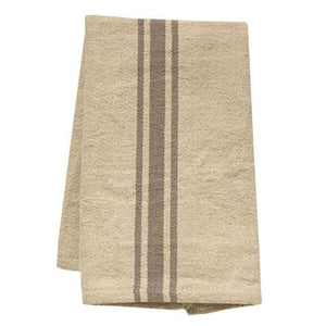 Our Grain Sack Dish Towel with Grey Stripes offers relaxed elegance, perfect for everyday farmhouse living. With plenty of French country charm, this dish towel has the look of well-worn feed sack material. The warm oatmeal color and grey stripes give them pure farmhouse charm. Easy to care for, they get softer with each washing. Vintage style farmhouse decor