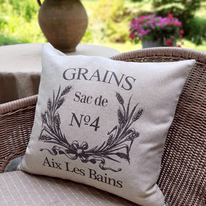 This French Grain Sack Pillow Cover brings graceful, fresh and elegant style to your farmhouse. Custom designed and handcrafted in the USA from the highest quality materials. The warm oatmeal cotton/linen blend adds rustic, elegance to any room. Made in the USA