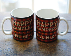 Happy Camper Mugs in Red and Black Plaid