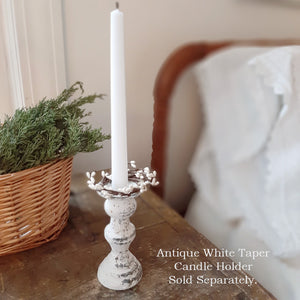 "The Ivory Pip Berry Taper Candle Ring, set of two, adds a sweet country touch to any taper candle. It has ivory-colored pips on hand-wrapped stems and look great with your country decor. It has a 1-1/2"" inside diameter and is for indoor use only. Sold as a set of two. Candles and holder not included."