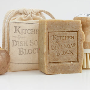This Kitchen Dish Soap Block is the perfect addition to your zero waste, living clean lifestyle! It powerfully cleans stubborn grease, while loving on your hands. This product can be used to fight stains in laundry, rugs, and even clean counter tops, there is no end the uses of this multipurpose product. This plant based all-natural bar is made in small batches and hand cut, so there may be small imperfections and roughness in these.  Made in the USA. 0.53 lbs