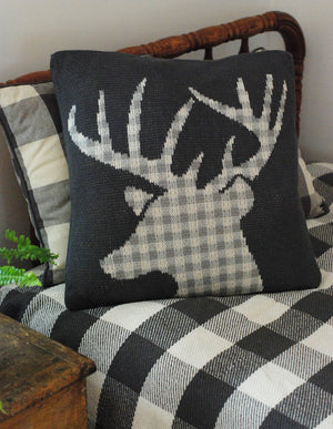 Knit Pillow with Deer in Buffalo Checks