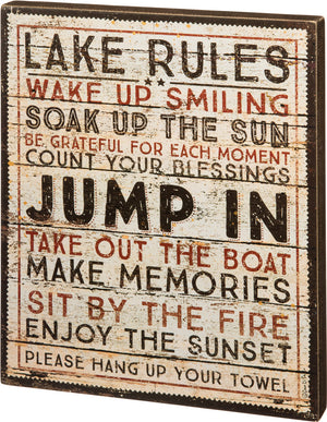 Lake Rules Box Sign