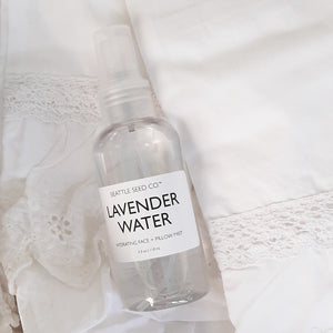 One spritz of Lavender Water Face and Pillow Mist and you'll drift away to the French Countryside. Lavender has many healing qualities, but it is most well-known for its calming and anti-bacterial capabilities. This clean, herbal, earthy scent is perfect for pillows and setting the tone for a soothing night sleep. As a face mist, it calms the skin and relaxes our frayed nerves, too!  Formulated with only pure distilled water, oil of lavandula angustifolia, and a little witch hazel. 4fl oz