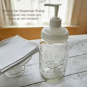 Put those adorable Mason jars to good use with our Mason Jar Soap Dispenser Lid. You can purchase dish and hand soaps in bulk and do away with unsightly packaging. This dispenser pump is perfect for so much more than soap. It's perfect for lotions, condiments, hand sanitizers and more.