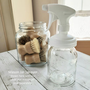 Our Mason Jar Sprayer lid lets you do away with harsh commercial cleaners and their unsightly packaging. This sprayer lid turns any regular mouth jar into the perfect multi-purpose sprayer for everyday use!