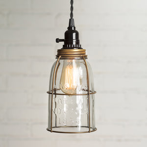 Mason Jar Pendant Light with Antiqued Brass Cage