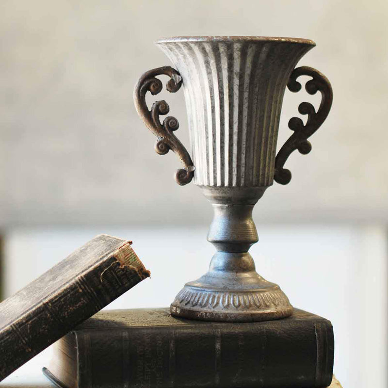 Reminiscent of vintage trophies, you'll create an elegant planter or vase with this Metal Trophy Urn. It's aged pewter-look metal finish and decorative handles makes it the perfect accent for a bookshelf or tabletop.