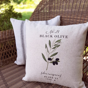 Inspired by vintage botanical illustrations, this Olive Branch Pillow Cover brings graceful, fresh and elegant style to your farmhouse. Custom designed and handcrafted in the USA from the highest quality materials. The warm oatmeal cotton/linen blend adds rustic, elegance to any room. Made in the USA