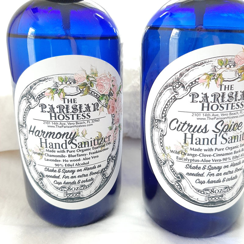 Fortify yourself with hand sanitizer made with 90% isopropyl alcohol, aloe vera and pure essential oils in a generous 8 ounce spray bottle. The essential oil blends are designed to provide aromatherapy and to inspire a sense of calm. Available in two scents.