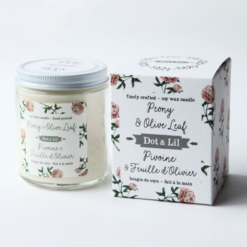 Get ready to be transported into a warm, summer garden oasis with this Peony & Olive Leaf Candle. Peony & Olive Leaf, a blend of soft pink petals and elegant musk with lush fruit top notes. These exquisite candles are made with a wax blend of 100% pure soy & botanical oils, with a cotton wick. Each candle is hand-poured in a glass jar with white metal lid, and comes with beautiful patterned box.  7.2 oz size burns for 45 hours