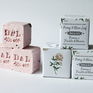 Peony & Olive Leaf Sparkling Milk Bath Cube, Set of Three