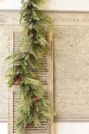 "The Pine Forest Garland features a realistic look with pine cones—perfect for adding greenery around the holidays with rustic farmhouse and traditional colonial charm . Measures 72""L"