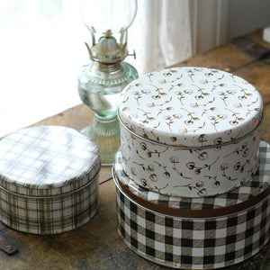 Vintage Style Plaid and Cotton Tins