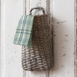With a bit of old French country charm and simplicity, our Plymouth Wall Basket is a farmhouse accent that has plenty of practicality. Store long serving utensils or let it overflow with your favorite dried flowers. No matter what you choose to stash away in this primitive style basket, it will look right at home in your farmhouse. (Dish Towel not Included.)