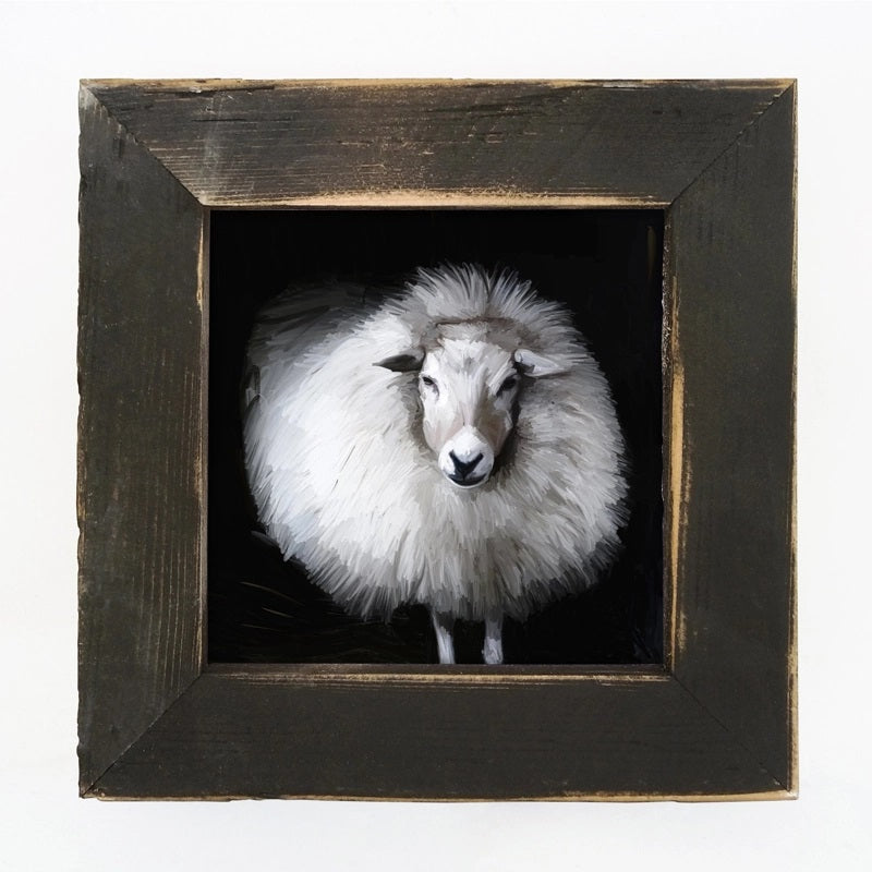 "Let this Poofy Sheep Art Print, with weathered black frame, add rustic ambiance, as it celebrates the farm life. The frame is made of barnwood reclaimed from centuries-old wood from upstate NY. The artwork is printed on high-quality matte paper with archival inks and mounted permanently to 1/8"" hardboard which is mounted to the frame.Made in the USA . 8"" x 8"""