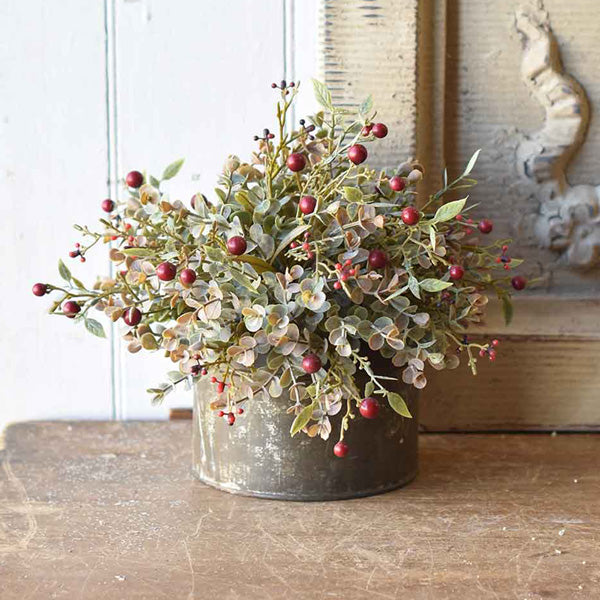 "Add a rustic touch to any bowl, basket or pot with our Red Berries and Eucalyptus Half Sphere. The soft, muted grey/green tones of this Eucalyptus combined with Red Berries lends an earthy charm to any room in your farmhouse. This faux half sphere sits easily in any bowl or basket to create a farm table centerpiece that will look beautiful in any season. 10"" Diam (Floral Sphere Only. Galvanized Tin Not included.)"