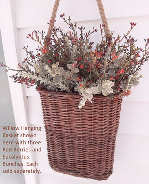 Willow Hanging Basket with Red Berries and Eucalyptus Bush