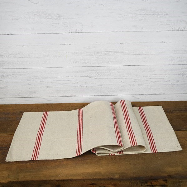 Vintage Style Red Striped Table Runner
