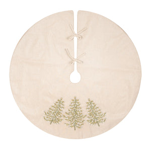 "Accent your holiday decorations with our hand-crafted Ribbon Art Christmas Tree Skirt. Featuring an array of intricate ribbon branches forming a classic evergreen tree that's decorated with beads for extra cheer. This tree skirt, and its unique texture, will become a centerpiece of your Christmas decor. The light oatmeal tree skirt has a hint of sparkle. Crafted of a soft polyester/cotton 42"" Diam"