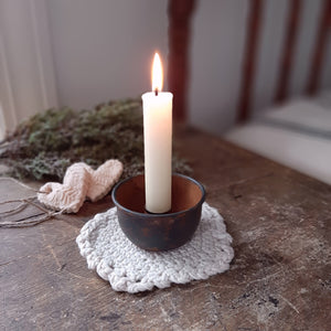 "Our Rustic Taper Candle Cup features a rusty, distressed finish. The cup has plenty of space between the holder and the sides, making it the perfect choice for displaying a candle ring! Measures 3"" in diameter with a 1"" candle cup."
