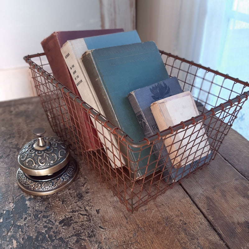 Our Rusty Wire Basket offers quintessential vintage farmhouse style. This charming wire basket is perfect for organizing just about anything in your home. This antique inspired Rusty Wire Basket features an aged finish with hints of grey and rusted metal. Makes a beautiful presentation for farmhouse gatherings to hold napkins or add it to your home office. Keep produce in the pantry or keep a great selection of books by a guest bed.