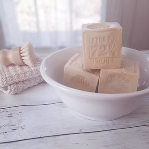 100% natural french soap contains the required 72% vegetable oil. Since 1688 French law has declared that only soaps produced by following traditional methods shall bear the famous mark. This Authentic Cube Soap of Marseille is a multi-use soap, great for bathing, shampooing, laundry, and cleaning, yet gentle enough for a baby.