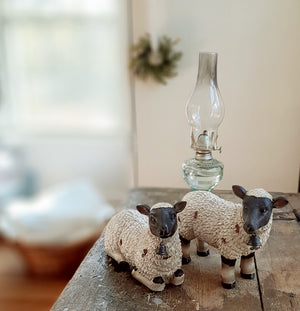 Sheep Figures with Bells, Set of Two
