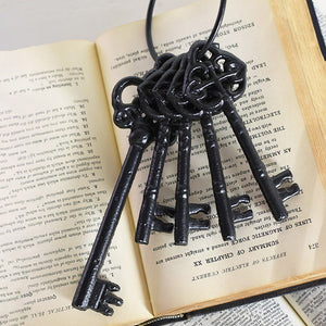 Our Antique Style Skeleton Key Ring adds the perfect vintage touch. Made of cast iron, these reproduction keys add instant charm to any room. Hang from an old cupboard door, slip them into a glass jar for display, or use them as gift tags. Set of . Set of 5 keys on a ring. 3.25 X 2.25 X 9.75