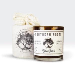 Inspired by places, memories and moments, each highly scented candle contains 9 ounces of American-grown pure soy wax hand poured in amber glass vessels. Clean burning cotton braid wicks are used to ensure up to 45 hours of enjoyment. Each Southern Roots Candle comes packaged in reusable organic cotton drawstring bags. Made in the USA. 9oz      Sweet Tea: Black Tea + Sugar + Mint + Lemon. Inspired by the house wine of the South.     Front Porch: Honeysuckle + Jasmine + Gardenia + Wisteria. Inspired by sprin