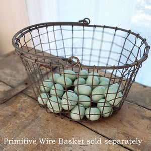 Celebrate nature's beauty with this Speckled Bird Egg Set. These sweet, blue-green decorative eggs are perfect for adding a touch of spring to your farmhouse decor. Fill a wire basket, vase or bowl for an earthy look. Set of 24 in two sizes. Comes in clear bag with raffia ribbon.