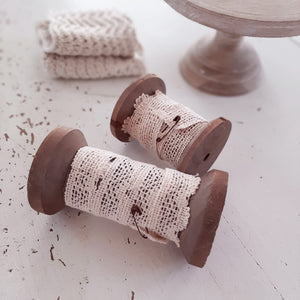 Wood Spools with Lace, Set of two