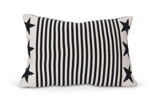 Stars and Stripes Knit Pillow in Black and Cream