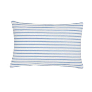 "Ticking stripe fabric has quintessential American farmhouse style. This sweet Ticking Stripe Pillow is crafted of 100% cotton with a cornflower blue striped design. This rectangular woven throw pillow is ideal for layering and lounging. Care instructions: Spot clean. Material: Cotton. Product dimensions: 14"" x 22""."