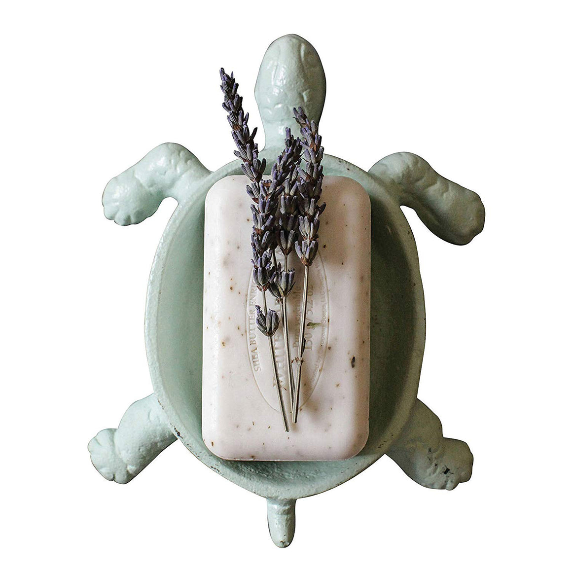 "This friendly turtle makes a great addition to any bathroom. Your kids will want to wash their hands if the soap is in this adorable turtle. Tell them they can talk to ""Turtle"" while washing their hands and they might do a better job by taking more time soaping up. This cast iron soap dish has a sea foam color that works with nautical style bathrooms."